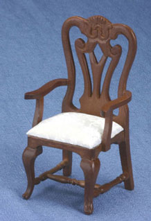 Dollhouse Miniature Armchair, Carved, Walnut