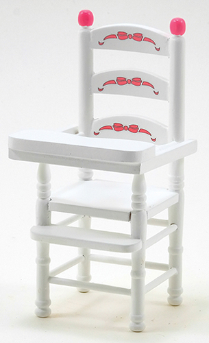Dollhouse Miniature High Chair, White, ABCW Decal