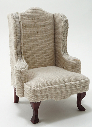 Dollhouse Miniature Chair, Mahogany with White Fabric