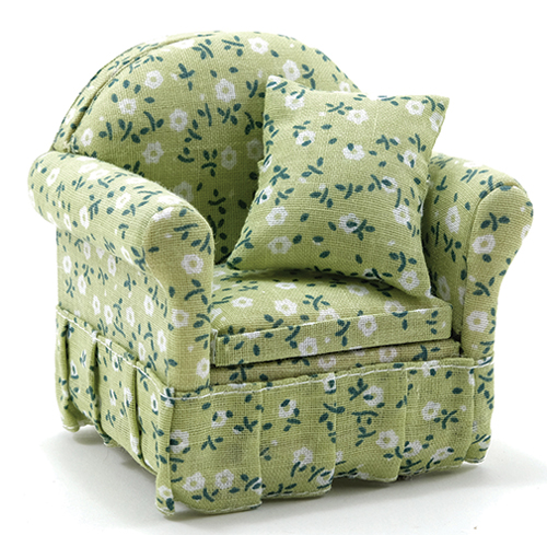 Dollhouse Miniature Chair with Green Floral Fabric