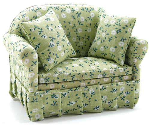 Dollhouse Miniature Sofa with Green Floral Print Fabric