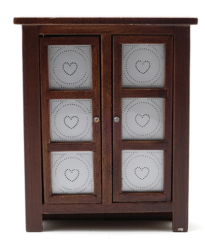 Dollhouse Miniature Pie Safe, Walnut