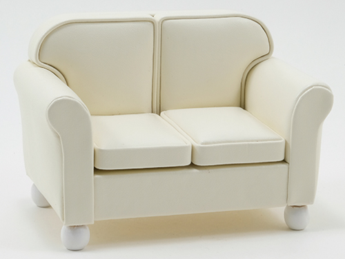 Dollhouse Miniature Loveseat, Cream Leather