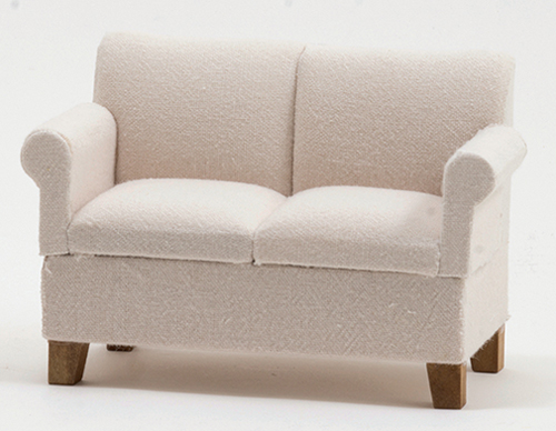 Dollhouse Miniature Loveseat, White Fabric