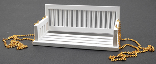 Dollhouse Miniature Porch Swing, White