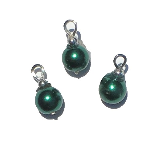 Green Pearl Ornaments, Pkg. 3