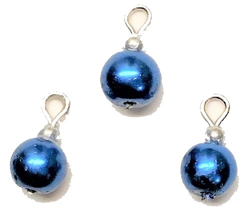 Royal Blue Pearl Ornaments, Pkg. 3
