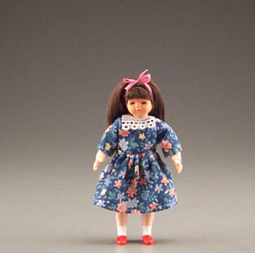 Dollhouse Miniature Long Haired Girl In Dress