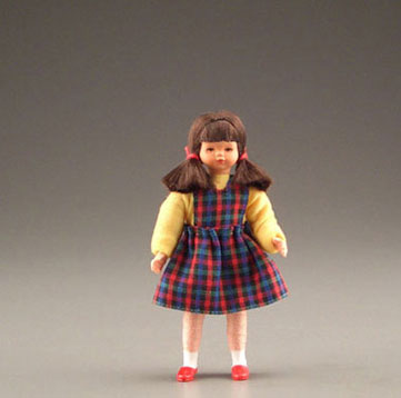 Dollhouse Miniature Dark Haired Girl In Plaid