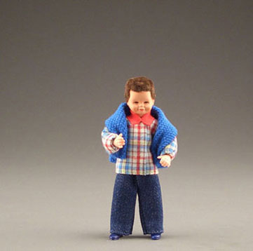 Dollhouse Miniature Boy W/Blue Sweater