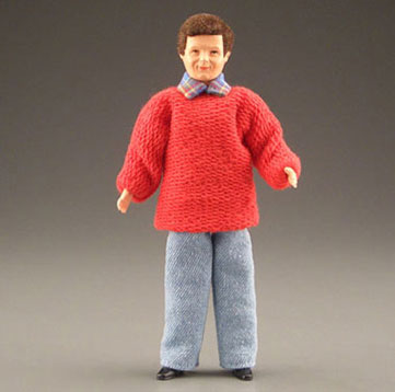 Dollhouse Miniature Father W/Red Sweater