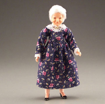 Dollhouse Miniature Grandma With Print Dress