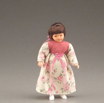 Dollhouse Miniature Girl In Pink Flower Dress