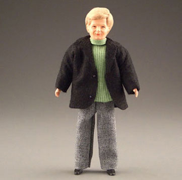 Dollhouse Miniature Blonde Dad W/Black Jacket