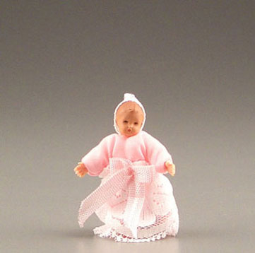 Dollhouse Miniature Tiny Baby In Pink