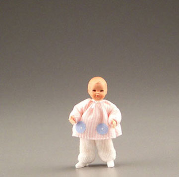 Dollhouse Miniature Infant In Pink/White
