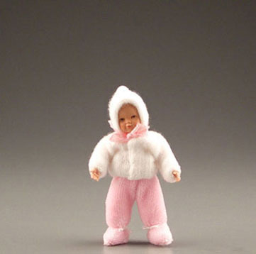 Dollhouse Miniature Toddler In Pink