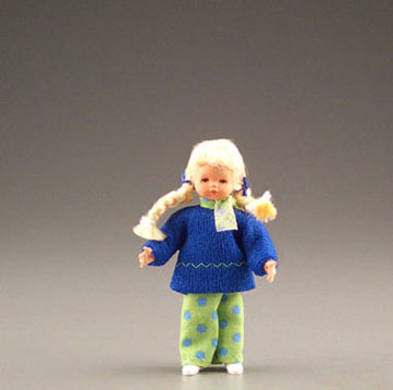 Dollhouse Miniature Little Girl With Braids
