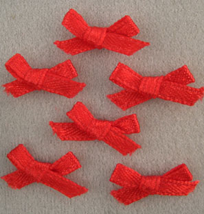 Dollhouse Miniature Red Bows, 6/Pk