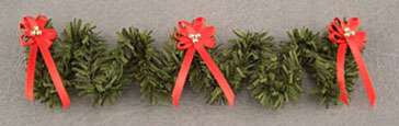 Dollhouse Miniature Staircase Garland W/Red