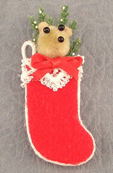 Dollhouse Miniature Teddy Bear Stocking