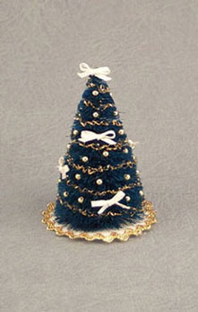 Dollhouse Miniature Gold Table Top Christmas Tree