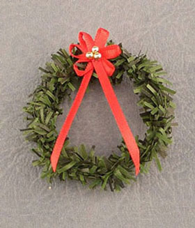 Dollhouse Miniature Wreath W/Red Bow