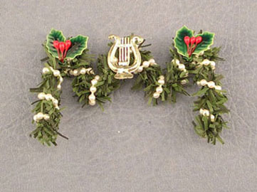 Dollhouse Miniature Fireplace Garland W/Lyre