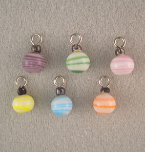 Dollhouse Miniature 6 Pastel Stripe Ornaments