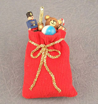 Dollhouse Miniature Red Corduroy Bag Of Toys