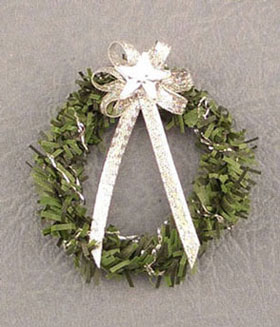 Dollhouse Miniature Silver Star Wreath