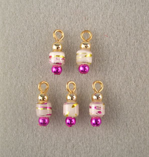 Dollhouse Miniature (5) White/Fuchsia/Gold Popper Ornaments