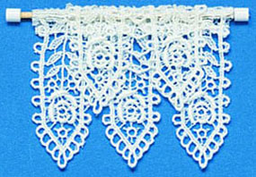 Dollhouse Miniature Valance: Lace White