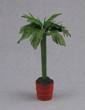 Dollhouse Miniature Palm In Large Clay Pot
