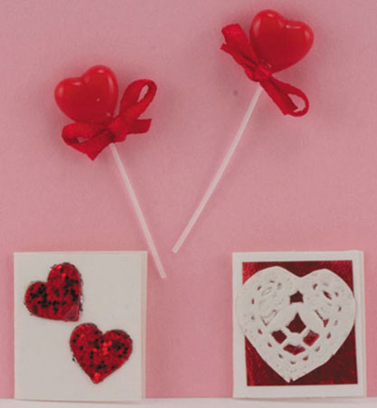 Dollhouse Miniature Valentines & Lollipops