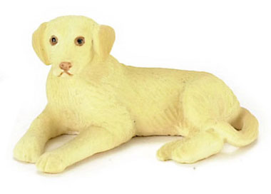 Dollhouse Miniature Lying Labrador, Blonde