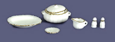 Dollhouse Miniature Accessories For Dinner Set, 7Pc