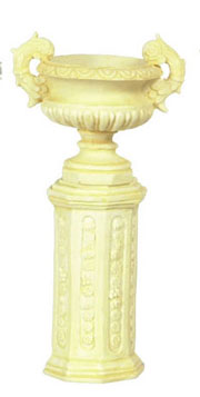 Dollhouse Miniature Ancient Urn W/Base/2 Set Ivory