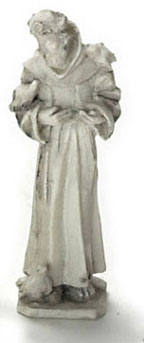Dollhouse Miniature St Francis Statue Gray