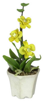 Dollhouse Miniature Orchids In Hexagon Pot
