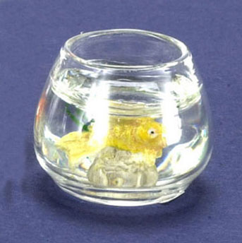 Dollhouse Miniature Fish Bowl, Gold Fish