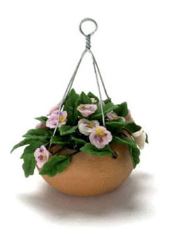 Dollhouse Miniature Pink Pansy, Hanging Pot