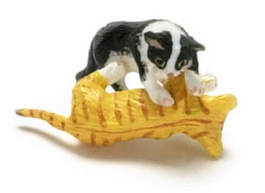 Dollhouse Miniature Playing Kitten Or & Black and White