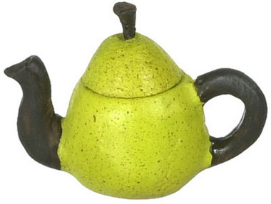 Dollhouse Miniature Green Pear Teapot