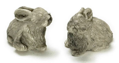 Dollhouse Miniature Stone Rabbit/Set Of 2