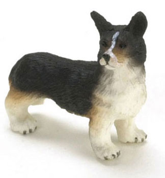 "Dollhouse Miniature 1/2"" Scale Corgi, Black"