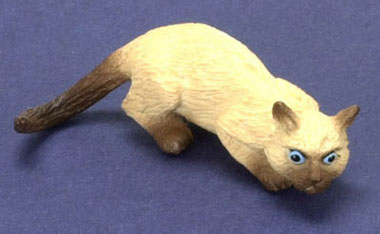 Dollhouse Miniature Sniffing Cat, Siamese Brown