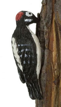 Dollhouse Miniature Downy Woodpecker