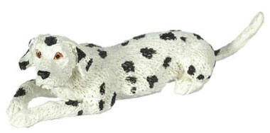 Dollhouse Miniature Laying Dalmatian, 1/2 In Scale