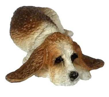 "Dollhouse Miniature Laying Basset Hound, 1/2"" Scale"